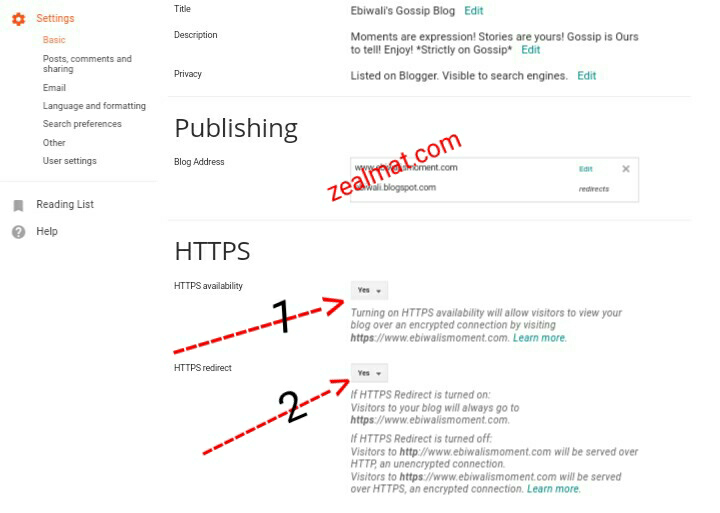 HTTP To HTTPS On Blogger